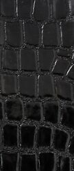 FAUX LEATHER CROCO SHINY BLACK UPHOLSTERY FABRIC 54#x27;#x27; FABRICS FOREVER