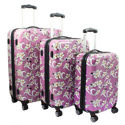 Tropical Flower 3-piece Expandable Hardside Spinner Luggage Set - Pink