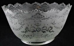 Antique Victorian Ribbons Flowers Crown Top Acid Etched Glass Gas Lamp Shade 4