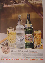 1944 Esquire Original Advertisement Canada Dry Giner Ale + National Distillers