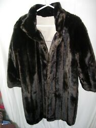 WOMENS BROWN TAN NYLON RAIN COAT MINK LOOK faux fur reversible WINTER SIZE M 43