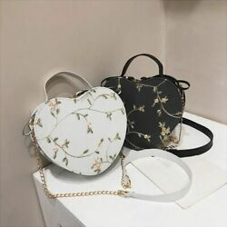 Heart-Shaped Flower Bag Embroidered Pu Leather Versatile Chic Chain Shoulder Bag