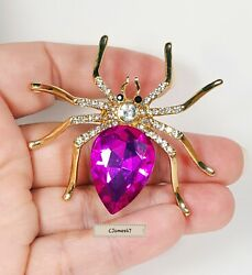 CRYSTAL SPIDER Brooch Pin HALLOWEEN Creepy Pink Gift Box Rhinestone Autumn