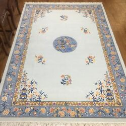 Yilong 6and039x9and039 Medallion Hand Knotted Chinese Art Deco Wool Rug Home Decor Carpets