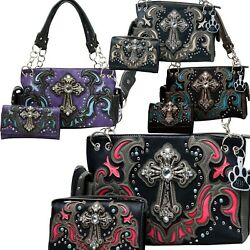 Western Handbag Laser Cut Stone Cross Carry Concealed Country Purse Wallet Set   $62.95