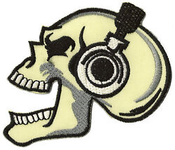 Patch Badge Coat Of Arms Patch Skull Head Death Music Fusible