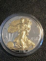 2007 American Silver Eagle 1oz Silver Coin With 24k Gold Gilded Proof Like