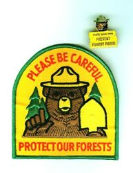 Forest Firefighter Wildland Protect Your Forest Service Patch And Smokey Bear Pin