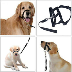 Dog Muzzle Halti Style Moush Neck Leash Stops Pulling Halter Training Reigns
