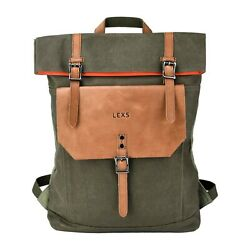 LEXS Laptop Backpack Mens Womens Waxed Canvas Notebook Travel Bag Daypack Green $38.84