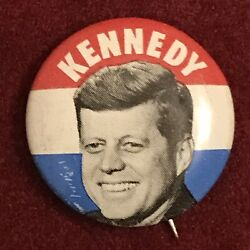 """1960 John F. Kennedy Classic Litho Photo Button • Campaign Pin-back 25mm 1"""" 2of4"""