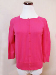 ANN TAYLOR PETITE SZ M BRIGHT PINK 34 SLEEVE CARDIGAN SWEATER  100% COTTON