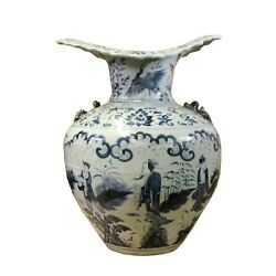 Vintage Chinese Blue White Wave Mouth Fat Body Porcelain Vase Ws345