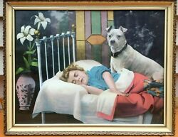 Antique VICTORIAN PRINT Colorful Lithograph BULL TERRIER & CHILD SLEEPING Framed