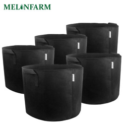 MELONFARM 5-Pack 7 Gallon Plant Grow Bags - Smart Thickened Non-Woven Aeration