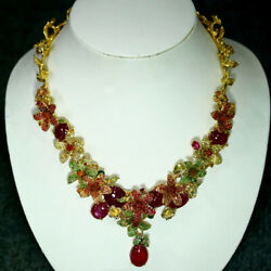 DELUXE! NATURAL RED RUBY SAPPHIRE & TSAVORITE GARNET NECKLACE 20