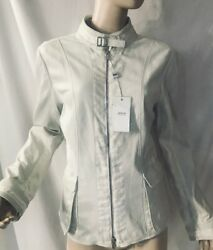 Armani Collection White Leather Linen Jacket I 46 Us 10 Nwt 1995