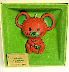 Hallmark Tree Trimmer 1978 Red Calico Mouse Christmas Ornament Box Gift Tag
