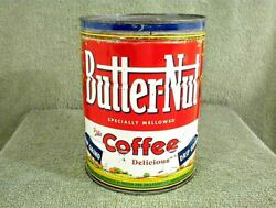 Vintage Butter Nut Coffee Can 2 Lbs Pounds Drip Grind Butter-nut Tin With Lid