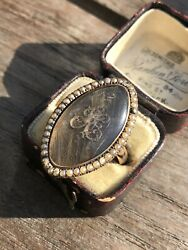 Late Georgian Seed Pearl Halo Hair Crystal Locket Front Ring Large Band