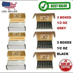 6box 1/2 Oz Gray And Black Wheel Weights Stick-on Adhesive Tape 54lbs Lead-free