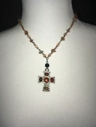 Beaded Multi Color Cross Necklace Synthetic Stones