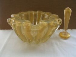 Glimmering Smoking Pair Murano Glass Bowl Or Ashtray And Pestle Glorious Gold Dust