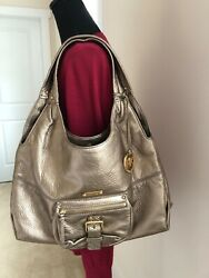 Pre Owned Michael Kors Hobo Bag Gold Bronze Color Soft Pebble Leather $85.00