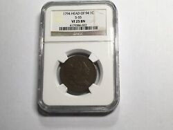 1794 Large Cent Head Of 94 S-55 Rarity 3 Ngc Vf 25 Bn