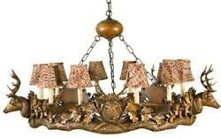 CHANDELIER 5 SMALL STAG HEAD DEER 3-LIGHT FEATHER PATTERN SHADES CAST RESI