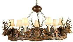 CHANDELIER 7 SMALL STAG HEAD DEER 3-LIGHT FAUX LEATHER SHADE SHADES CAST R