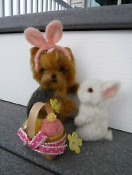 OOAK Needle Felted Easter-Yorkshire terrier puppy Yorkie