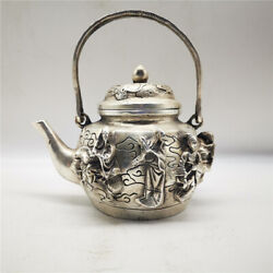 Old Collectables Excellent Tibet Silver Carved Immortal Kettle Chinese Antiques