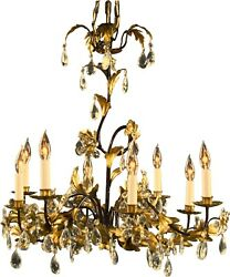 Italian 8-arm Chandelier Entwined Gold Leaves Clear Glass Crystals P-3