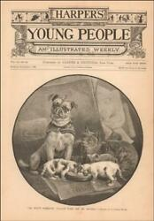 PUG DOG WITH MUZZLE can't drink CATS MILK by C Beard antique engraving 1886