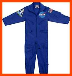 Kids NASA Flight Coveralls W Official Patch L HALLOWEEN COSTUME BLUE Boys