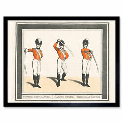 Rowlandson 1798 Broadsword Combat Defence Attack Drawing Wall Art Print Framed