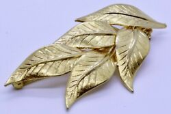 Elegant 18K Solid Yellow Gold Brushed Satin Finish Leaf Cluster Bunch Brooch Pin