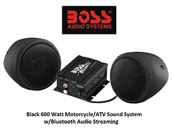 Custom Black Audio Sound System with Bluetooth Water Proof MP3 Stream Kawasaki