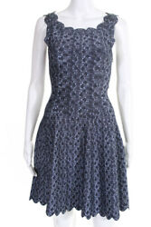 Alaia Womens Scalloped Scoop Neck Mini A Line Dress Blue Abstract Size IT 36