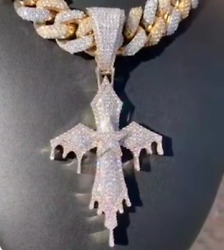 Egyptian Cross In Dripping Style 925 Sterling Silver/10k Yellow Gold Cz Pendant