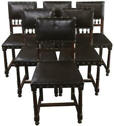 Dining Chairs Henry Ii Renaissance Walnut Brown Leather 1920 French Set 6
