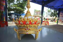 Traditional CHADA Ram Dance Thai Crystal Gold Headdress Crown Southern Costume