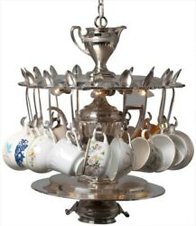 Chandelier Pendant Vintage 18 Teacups Spoons Silver Hand-crafted 4-light
