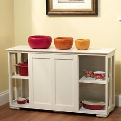 Kitchen Island White Server Storage Cabinet Wood Top Cupboard Portable Counter