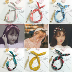 Vogue Women Girls Cute Bow Rabbit Bunny Ear Ribbon Hair Band Wire Wrap Headband