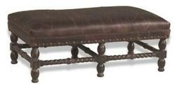 J Neal Bench Traditional Antique Leather Non-removable Leg Hand-crafted In U