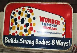 37 Wide Antique Usa Wonder Bread Country Store Bakery Kitchen Advertising Sign