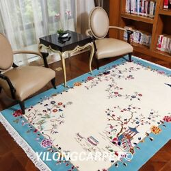 Yilong 6and039x9and039 Big Hand Knotted Chinese Art Deco Wool Rug Classic Woolen Carpets