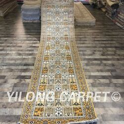 Yilong 3and039x12and039 Top Hand Knotted Silk Carpet Corridor Four Seasons Rug Runner 093c